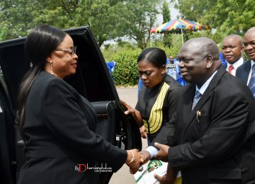 The Deputy Governor of Enugu State, Her Excellency, Hon (Mrs) Cecilia Ezeilo in a warm hand shake with the Rector of Institute, Prof. Austin Uche Nweze shortly before the commencement of the 32nd – 42nd Consolidated Convocation Ceremony and 45th Anniversary/Homecoming of Institute at the Michael Okpara Square, Independence Layout, Enugu on the 1st of December, 2018.