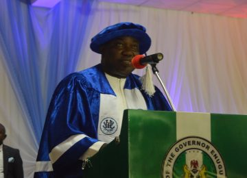 "His Excellency, Rt. Hon Dr. Ifeanyi Lawrence Ugwuanyi, while delivering the 4th Distinguish Academic Lecture titled, ""The Place of Governance in Achieving Functional Science and Technology Education in Nigeria"", at the International Conference Centre, IMT, Campus 3, Enugu."