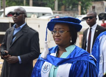 The Chairman, Governing Council, Deaconess Mrs Ifeoma Nwobodo in a procession into the International Conference Centre for the 4th Distinguished Academic Lecture by His Excellency Rt. Hon Ifeanyi Lawrence Ugwuanyi.