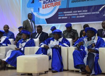 His Excellency, Rt. Hon Dr. Ifeanyi Lawrence Ugwuanyi (middle); The Chairman of the occasion and the Managing Director of Access Bank Plc, Dr Herbert Wigwe ably represented by …. (right); The Chairman, Governing Council, Deaconess Mrs Ifeoma Nwobodo (2nd left); The Rector of the Institute, Prof. Austin Uche Nweze (1st left) and others during the 4th Distinguished Academic Lecture at the International Conference Centre, Campus 3, Enugu.