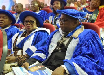 The Deputy Rector of the Institute, Mazi Vincent Ozoemenam Egbo (right); The Registrar, Dr Mrs Ijeoma Aneke (middle) and the Institute Bursar Mr. Sunny Ede (left) during the 4th Distinguished Lecture at the International Conference Centre, IMT, Campus 3.