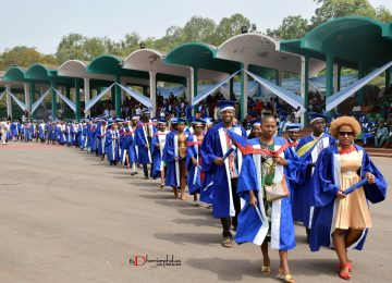 Graduants of the Institute (2007 – 2017) in a procession during the 32nd – 42nd Consolidated Convocation Ceremony and 45th Anniversary/Homecoming.
