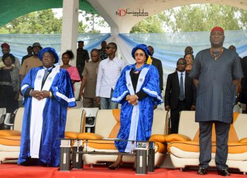 The Speaker of Enugu State House of Assembly, Hon Edward Ubosi (1st right); Her Excellency, the Deputy Governor, Hon. (Mrs) Cecilia Ezeilo (middle); Prof Austin Uche Nweze (1st left) observing National Anthem marking the beginning of the 32nd – 42nd Consolidated Convocation Ceremony and 45th Anniversary/Homecoming.