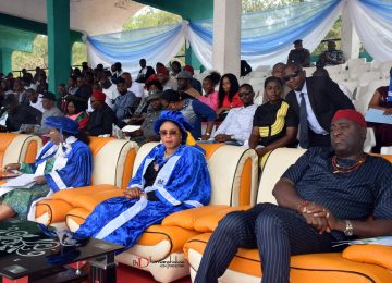 The Speaker of Enugu State House of Assembly (1st right); The Deputy Governor of Enugu State (middle) and The Chairman, Governing Council, Deaconess Ifeoma Nwobodo during the Convocation.