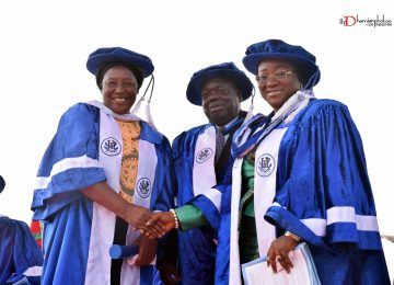 Deaconess Ifeoma Nwobodo (1st right), Chairman, Governing Council of the Institute in a hand shake with one of the Awardees, Evang. (Mrs) Patience Ozokwor (1st left) and the Rector of the Institute, Prof. Austin Uche Nweze (middle).