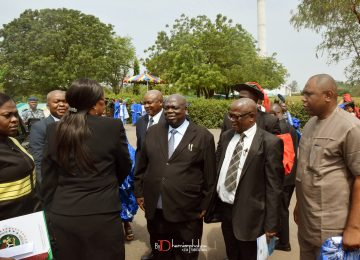 Her Excellency the Deputy Governor, Hon (Mrs) Cecilia Ezeilo in a group photograph with the members of the Management Staff led by Rector before the commencement of the Convocation. The Deputy Rector of IMT, Mr. Vincent Ozoemenam Egbo (2nd Right); The Rector of the Institute, Prof Austin Nweze (Middle); The Institute Bursar, Mr Sunny Ede (2ndLeft); and Dr John Orjih, Chairman Ceremonial Committee of the Convocation Ceremony who is standing behind the Rector.