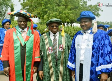 The Hon Commissioner for Education, Prof. Uchenna Eze (first right); Vice Chancellor of Enugu State University of Science and Technology, ESUT, Prof Luke Anike (middle); The Chief Librarian and Member of the IMT Governing Council, Dr Innocent Eze (left) during the Convocation.