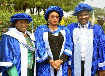 The Chairman, IMT Governing Council, Deaconess Ifeoma Nwobodo (1st left); Her Excellency, the Deputy Governor of Enugu State, Hon. (Mrs) Cecilia Ezeilo (middle) and the Hon. Commissioner for Education, Prof. Uchenna Eze (first right) in a group photograph before the commencement of the Convocation.