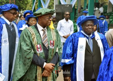 The Vice Chancellor of Enugu State University of Science and Technology, Prof. Luke Anike (1st left); The Rector of the Institute, Prof. Austin Nweze (1st left); Dr. John Orjih (2nd left); Deaconess Ifeoma Nwobodo, Chairman, Governing Council (2nd right) and others in a procession into the Convocation Ground at the Michael Okpara Square, Independence Layout, Enugu.
