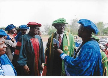 Prof. James Chukwuma Ogbonna in a chat with staff of the Institute shortly after the matriculation ceremony.