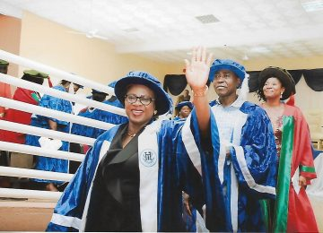 The Registrar Dr.(Mrs) Ijeoma C. Aneke, Director Academic Planning, Mr. Fide Udenta and the Deputy Director Degree Programme. Dr (Mrs) Ogochukwu Okanya while processing out of the matriculation venue at the end of the ceremony.