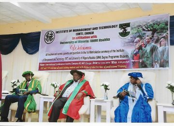 Prof James Ogbonna (first left), Prof Austine Uche Nweze (middle) and Mazi Vincent Egbo during the matriculation ceremony of IMT at International Conference Centre, Campus 3, Enugu.