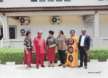 1.Mazi Vincent O Egbo (Deputy Rector) second left, Barr. Mark Akunna Eze (PRO) first right, Dr Mrs Ijeoma C Aneke (Registrar) second right, Mrs Nnachetam, Chairman Enugu State Scholarship Board and other staff of the Board during the Scholarship examination.